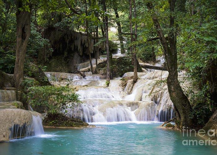 Thailand Greeting Card featuring the photograph Waterfall In Deep Forest by Setsiri Silapasuwanchai