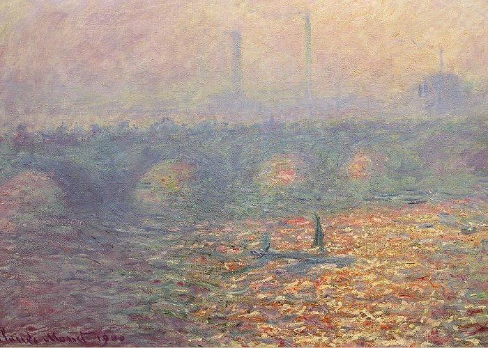 Waterloo Bridge Greeting Card featuring the painting Waterloo Bridge by Claude Monet