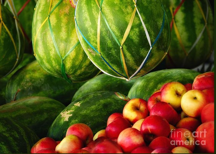 Fruit Greeting Card featuring the photograph Watermellons And Apples by Elaine Manley