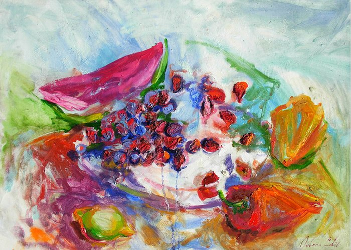 Watermelon And Pepper Greeting Card featuring the painting Watermelon And Pepper by Jelena Cholic