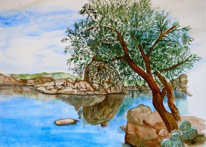 Watson Lake Prescott Arizona Peaceful Waters Greeting Card featuring the painting Watson Lake Prescott Arizona Peaceful Waters by Sharon Mick