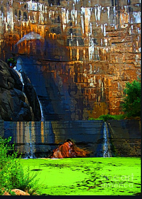 Waterfall Greeting Card featuring the photograph Watson Lake Waterfall by Julie Lueders