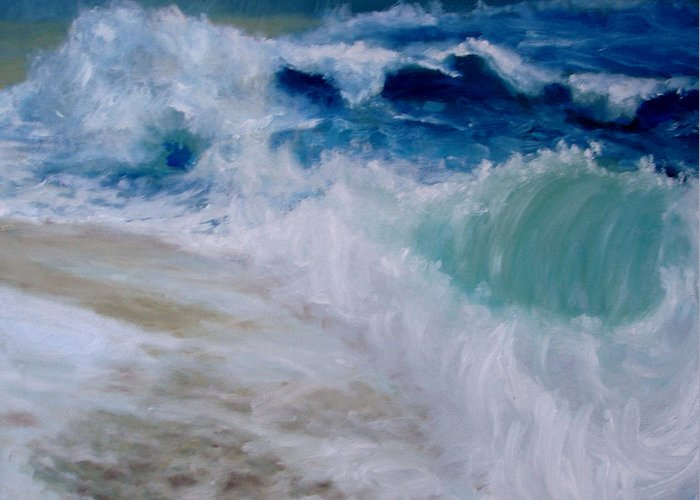 Ocean Greeting Card featuring the painting Wave Dance by Graham Keith