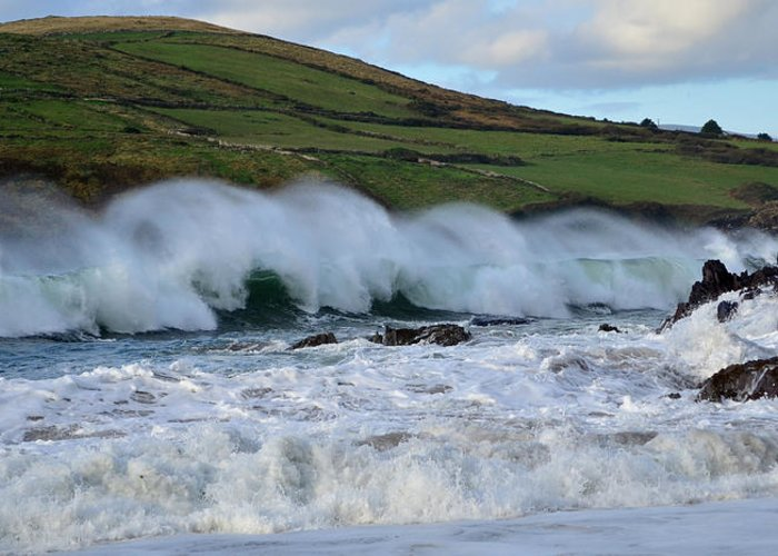 Waves Greeting Card featuring the photograph Waves In Dingle by Barbara Walsh