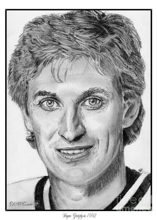 Wayne Gretzky Greeting Card featuring the drawing Wayne Gretzky In 1992 by J McCombie