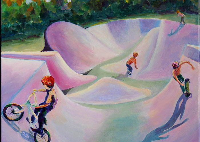 Skate Boarding Greeting Card featuring the painting We Love Our Park by Naomi Gerrard