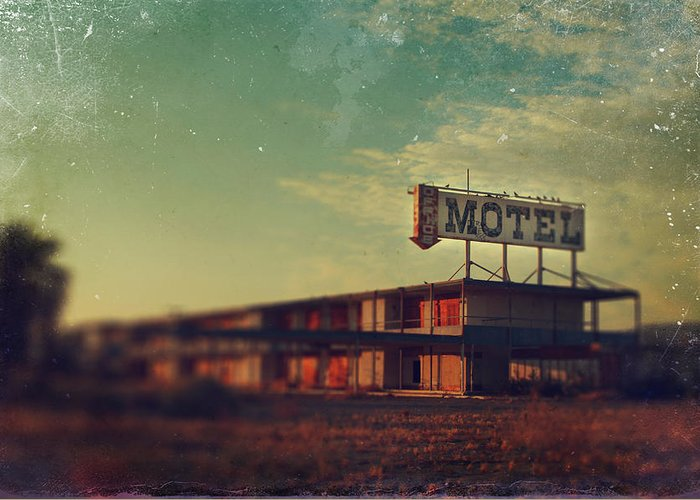 Motel Greeting Card featuring the photograph We Met At The Old Motel by Laurie Search
