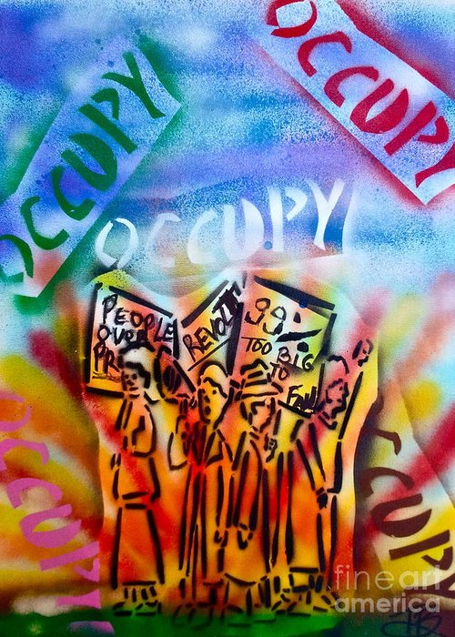 Occupy Greeting Card featuring the painting We Occupy by Tony B Conscious