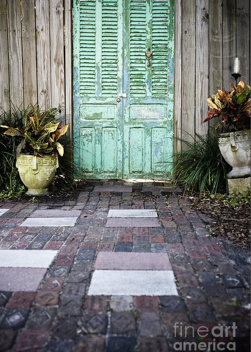 Apartment Greeting Card featuring the photograph Weathered Green Door by Sam Bloomberg-rissman
