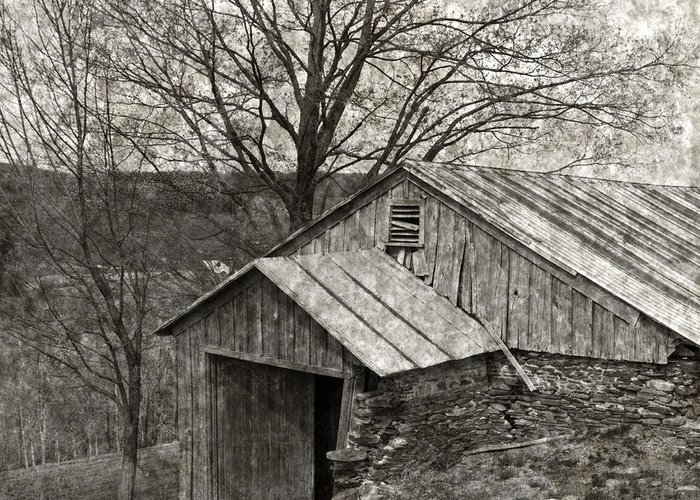 Tin Greeting Card featuring the photograph Weathered Hillside Barn by John Stephens