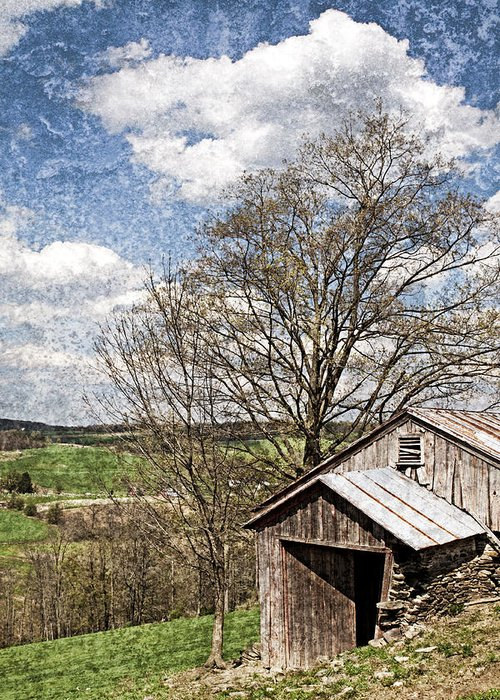 Tin Greeting Card featuring the photograph Weathered Hillside Barn Spring by John Stephens