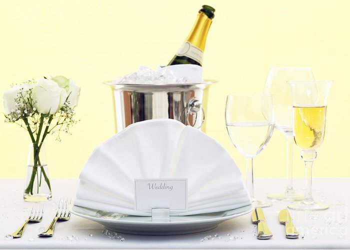 Wedding Greeting Card featuring the photograph Wedding Table Place Setting by Richard Thomas