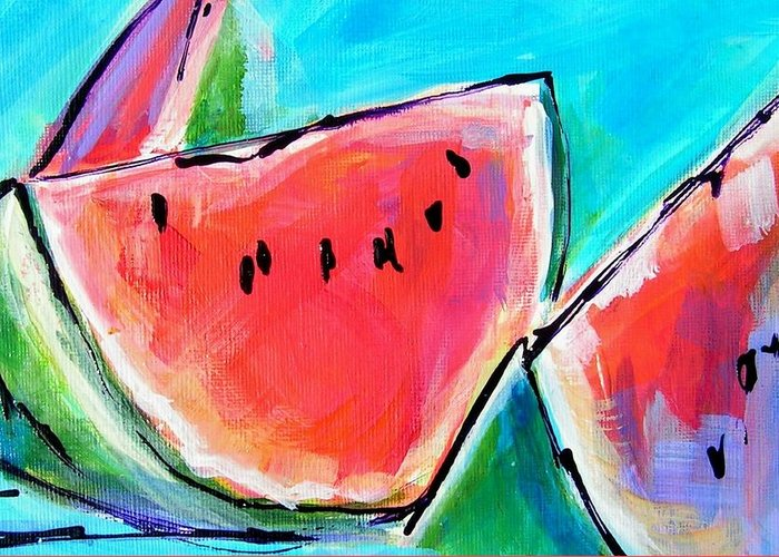 Watermelon Greeting Card featuring the painting Wedgies by Judy Rogan