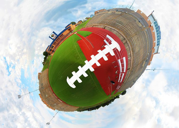 Wee Planet Greeting Card featuring the digital art Wee Football by Nikki Marie Smith
