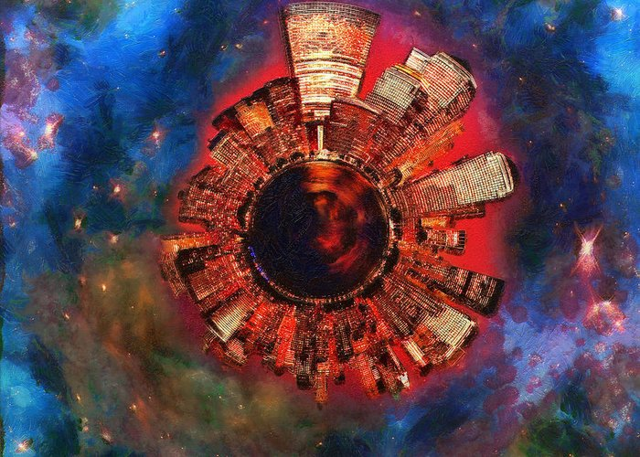 Manhattan Greeting Card featuring the digital art Wee Manhattan Planet - Artist Rendition by Nikki Marie Smith