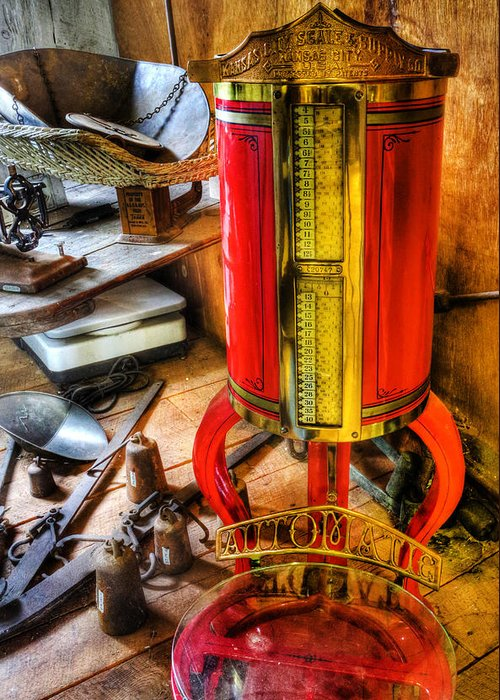 Lee Dos Santos Greeting Card featuring the photograph Weigh Your Goods - General Store - Vintage - Nostalgia by Lee Dos Santos