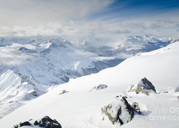 View Greeting Card featuring the photograph Weissfluhgipfel Summit View From The Summit Across Davos by Andy Smy