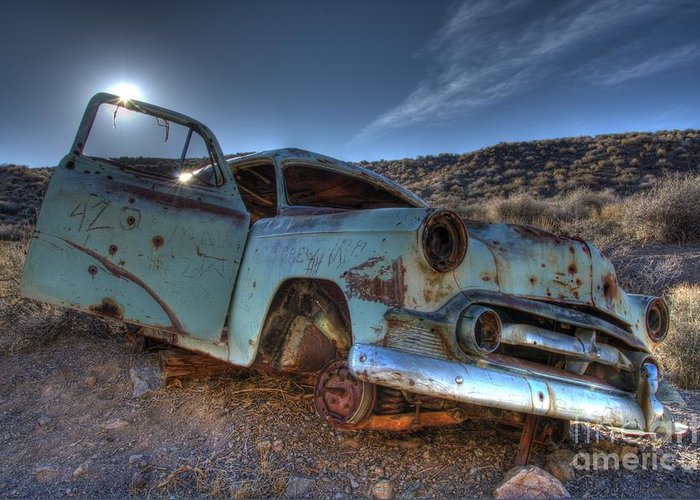 Old Cars Greeting Card featuring the photograph Welcome To Death Valley by Bob Christopher