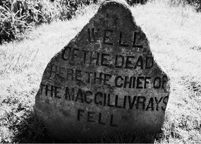 Memorial Greeting Card featuring the photograph well of the dead and clan macgillivray memorial stone on Culloden moor battlefield site highlands sc by Joe Fox