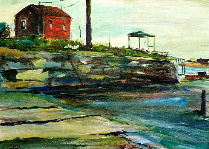 Wells Harbor Greeting Card featuring the painting Wells Harbor Maine by Scott Nelson