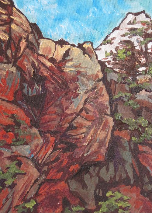 Sedona Greeting Card featuring the painting West Fork by Sandy Tracey