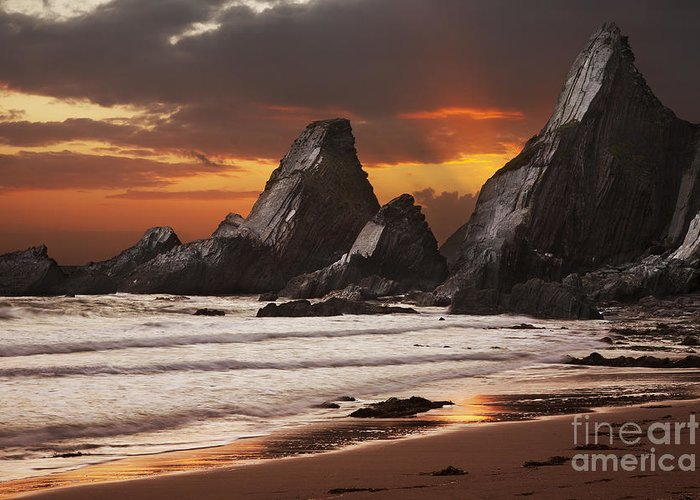 Devon Greeting Card featuring the photograph Westcombe Bay by Richard Garvey-Williams