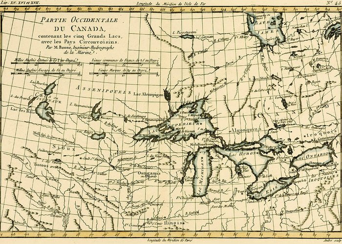 Engraving Greeting Card featuring the drawing Western Canada And The Five Great Lakes by Guillaume Raynal