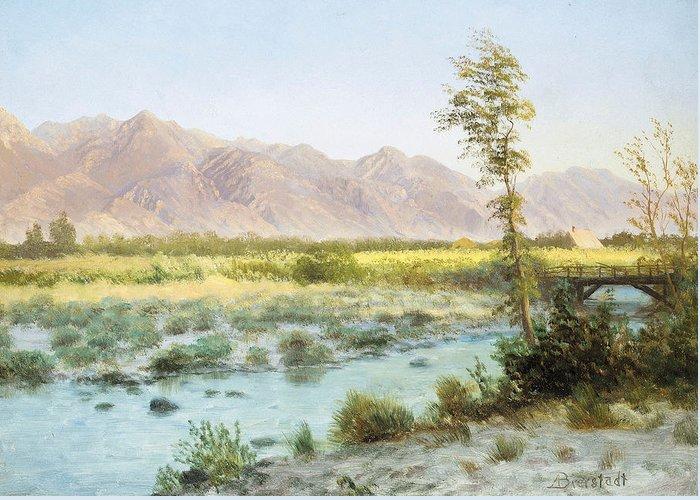 Albert Bierstadt Greeting Card featuring the painting Western Landscape by Albert Bierstadt