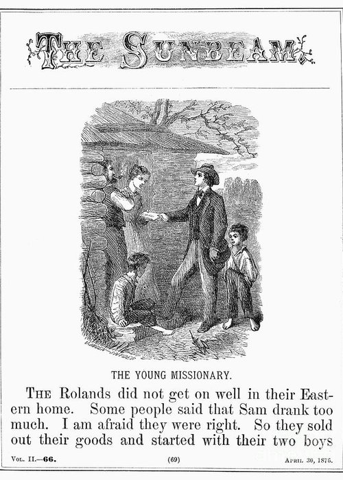 1876 Greeting Card featuring the photograph Western Missionary, 1876 by Granger