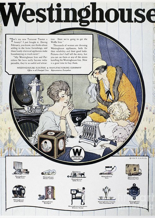 1924 Greeting Card featuring the photograph Westinghouse Ad, 1924 by Granger