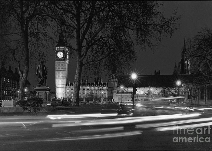 Westminster Palace Greeting Card featuring the photograph Westminster Night Traffic by Aldo Cervato