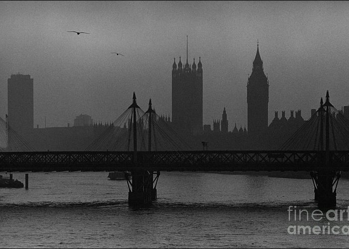 Foggy London Greeting Card featuring the painting Westminster On A Foggy Day by Aldo Cervato