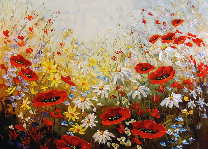 Poppies Greeting Card featuring the painting What A Wonderful Day by Irena Sherstyuk