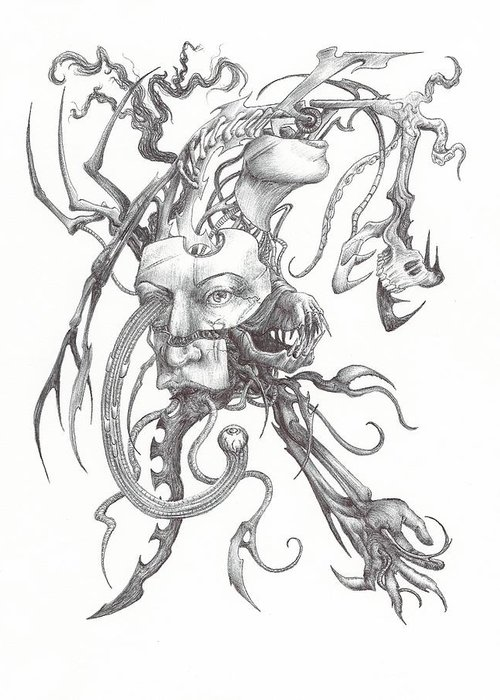 Ink Greeting Card featuring the drawing What Is On The Inside Part One by Anthony McCracken