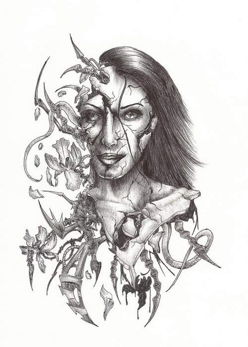 Woman Greeting Card featuring the drawing What Is On The Inside Part Two by Anthony McCracken