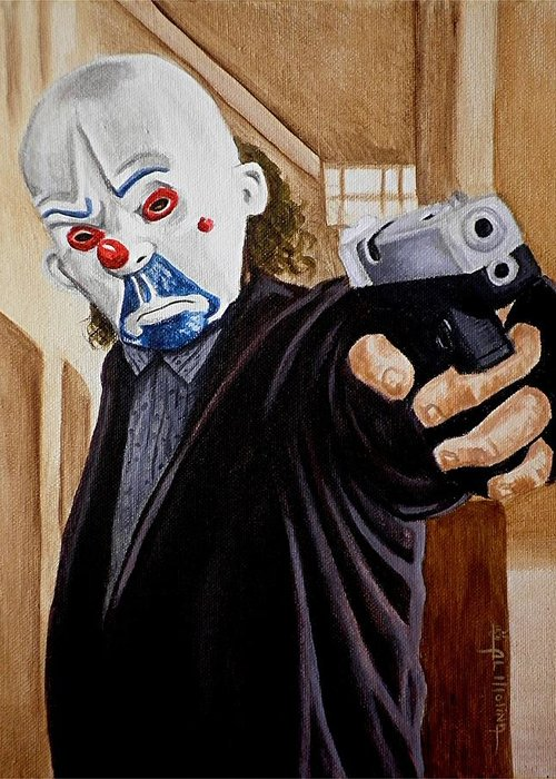 Joker Greeting Card featuring the painting Whatever Doesn't Kill You Simply Makes You Stranger by Al Molina
