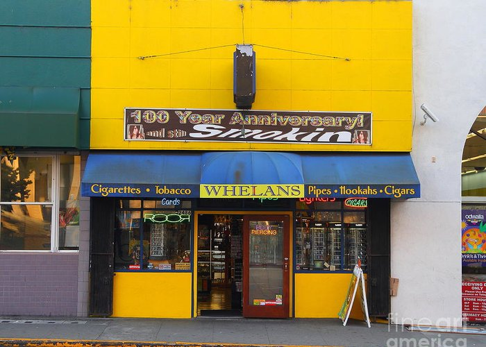 Smoke Shop Greeting Card featuring the photograph Whelans Smoke Shop On Bancroft Way In Berkeley California . 7d10168 by Wingsdomain Art and Photography
