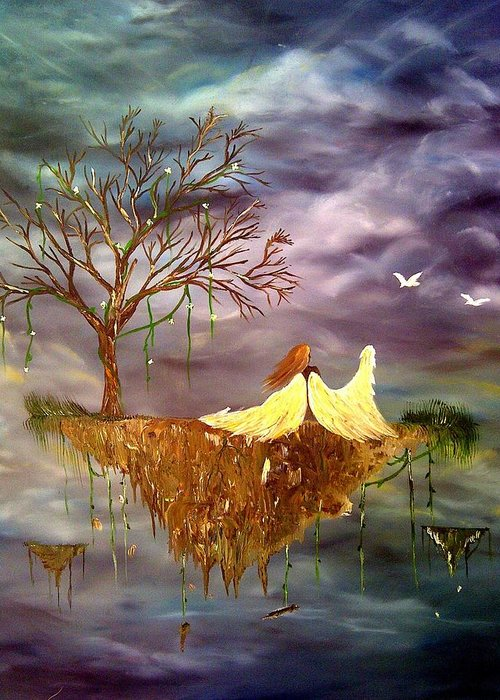 Angel Greeting Card featuring the painting When An Angel Falls by Nicole Champion