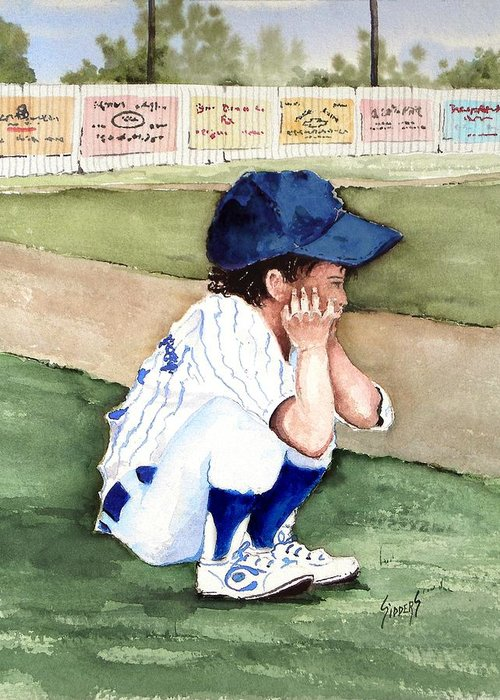 Baseball Greeting Card featuring the painting When Do I Get To Play by Sam Sidders