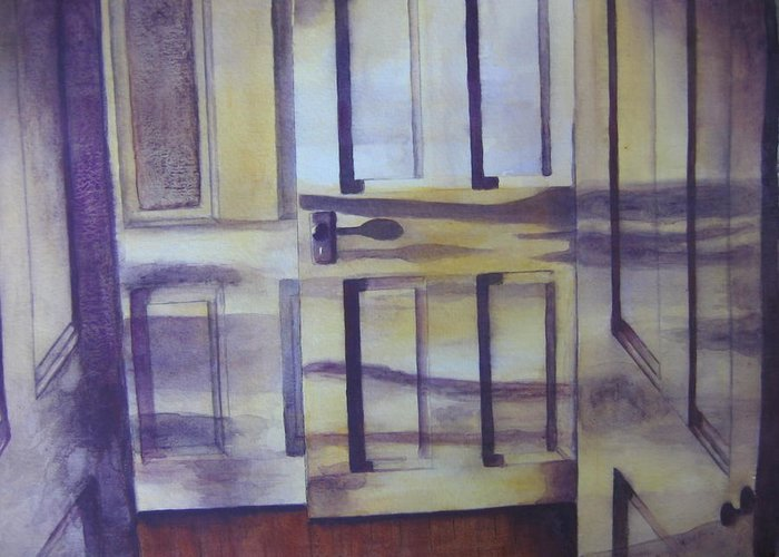 indoor Still Life Greeting Card featuring the painting When One Door Closes by Patsy Sharpe