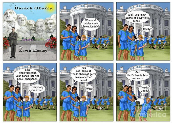 Barack Obama Greeting Card featuring the digital art Where Do Babies Come From by Kevin Marley