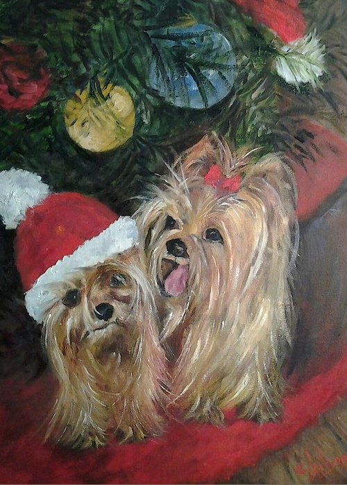 Yorkies Greeting Card featuring the painting Where Is My Hat by Claiborne Hemphill-Trinklein