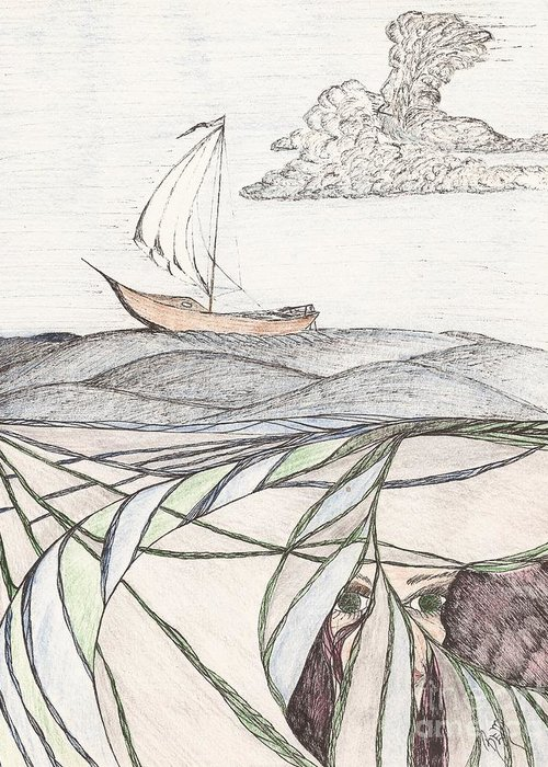 Sea Greeting Card featuring the drawing Where The Deep Currents Run... - Sketch by Robert Meszaros