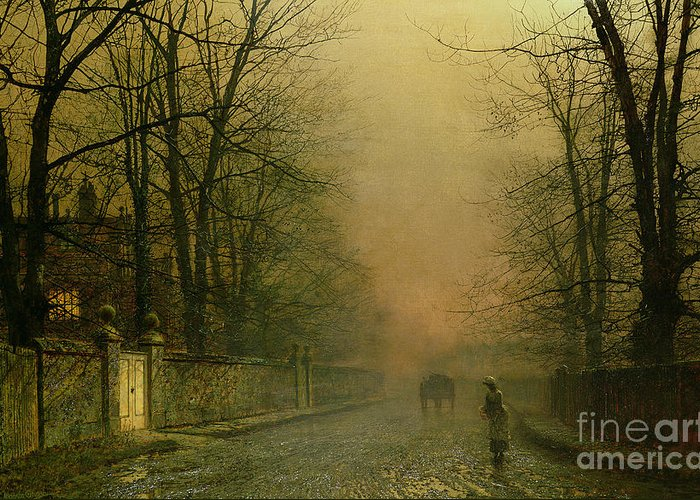 Moon Greeting Card featuring the painting Where The Pale Moonbeams Linger by John Atkinson Grimshaw