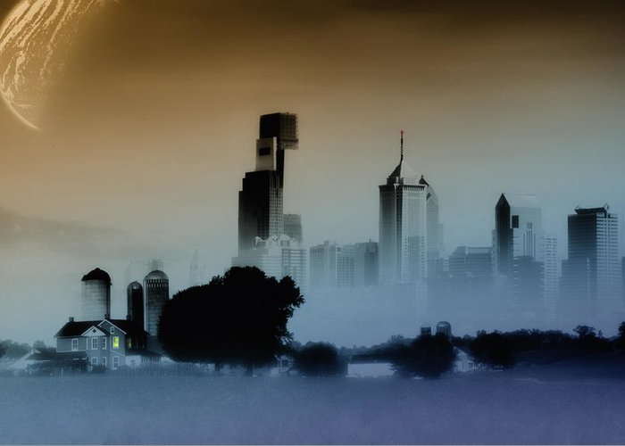 Philadelphia Greeting Card featuring the digital art While The City Sleeps by Bill Cannon