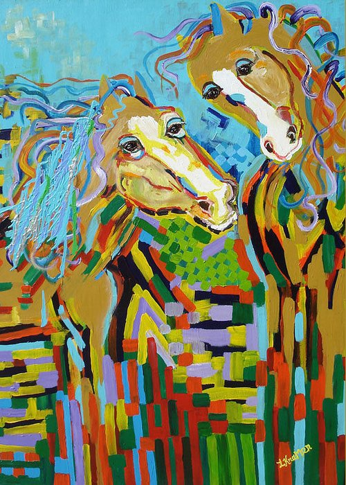 Horse Greeting Card featuring the painting Whimsical Affection by Lisa Kramer