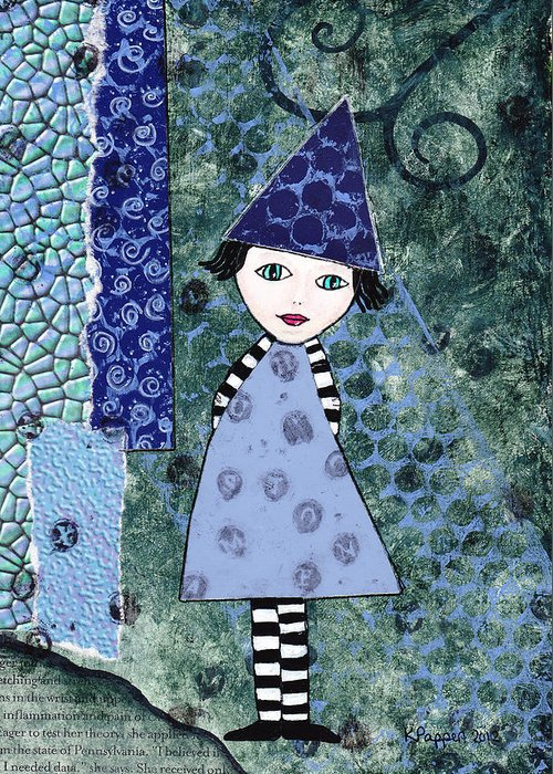 Pappert Greeting Card featuring the photograph Whimsical Blue Girl Mixed Media Collage by Karen Pappert