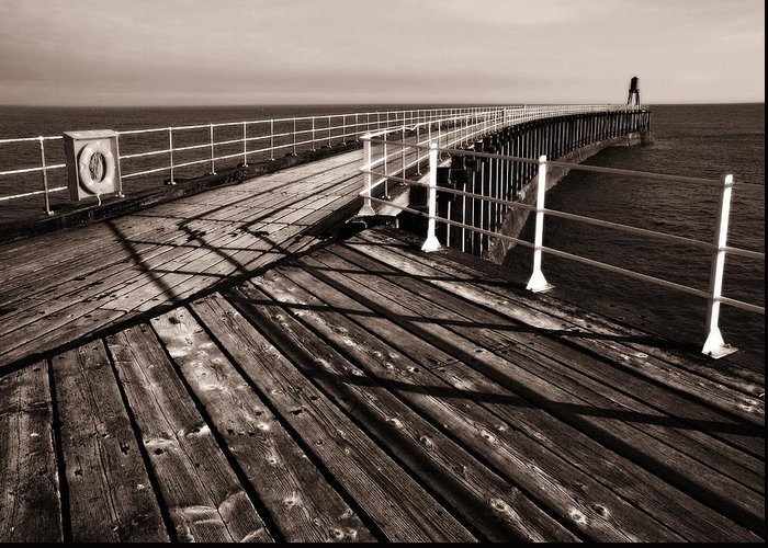 Whitby Greeting Card featuring the photograph Whitby Pier by Stephen Wakefield