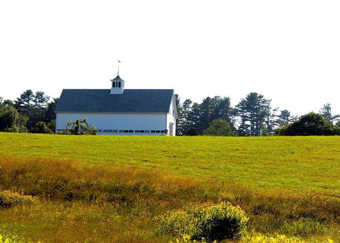 Harpswell Greeting Card featuring the photograph White Barn by Robbie Basquez