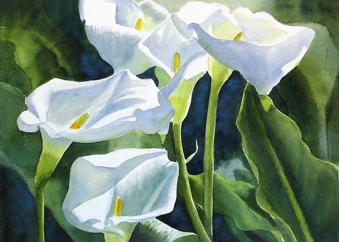 White Greeting Card featuring the painting White Calla Lilies by Sharon Freeman